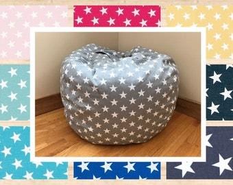 Bean Bag Chair Cover. STARS Reader's Nest Bean Bag Chair. COVER ONLY. Beanbag chair.  Floor Cushion. Stuffed Animal Storage