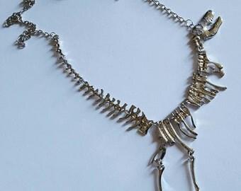 T-Rex Skeleton Fossil Necklace, Dinosaur Necklace