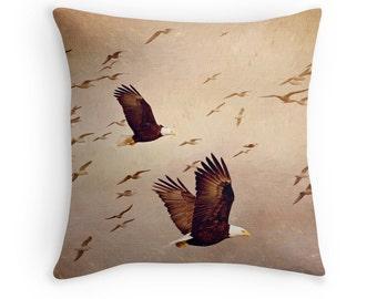 Eagle Decor, Eagle Throw Pillow, Eagle Cushion, Seagull Pillow, Raptor Decor, Bald Eagle, Nature Pillow, Bird Pillow Cover, Nature Pillow