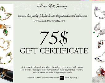 Gift Certificate - Instant download, Last minute gift for fantasy lovers, Last minute jewelry gift, Gift Voucher, elven jewelry