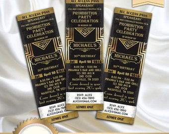 Great Gatsby Birthday Invitation, Vintage Black and Gold, Prohibition, Art Deco 30th 40th 50th 60th 70th 80th (any age) - Printable, GG01