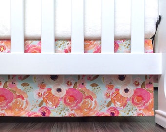 "Crib skirt. 3 sided 7"" 10"" 13"" 16"" drop crib skirt. Floral watercolor flowers roses pink blush coral light blue orange spring. Baby girl"