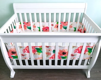 Breathable crib bumper.  Coral Floral watercolor flowers roses pink blush coral peonies. Breathable jersey fabric wrap around crib bumper