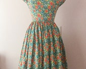 RESERVED *** Floral 1960s Inspired Dress | Full Gathered Skirt Dress | Modest Midi Dress | Retro Rockabilly Reproduction Dress | XS S
