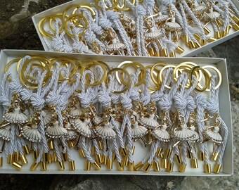 Βallerina martyrika -Luxury martyrika-Key chains Baptism Favors- formal style martirika-ballerina favors-christening favors