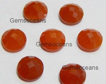 15 Pcs Brilliant Red Onyx Round Shape Checker Cut Calibrated Gemstone