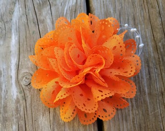 Orange Hair Clip, Hair Accessory, Girls Accessory, Photo Prop, Spring Flower, Baby Girl Hairclip, Orange Flower Clip, Girls Flower Clip
