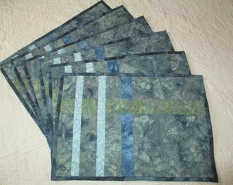 Batik Place Mats in Greens and Blues, Two