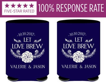 Let Love Brew Wedding Can Coolers, Wedding Rehersal Can Coolers, Love Brew Custom Wedding Huggies, Personalized Wedding Keepsake Favors (80)