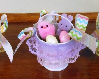 Easter Decorations Easter Ornaments Easter Chicks and Bunnies Spring Decorations Easter Party Favors Mini Easter Buckets Easter Vignette