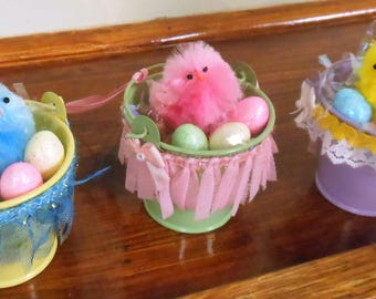 Easter Decorations Easter Ornaments Easter Chicks Spring Decorations Easter Party Favors Mini Easter Buckets