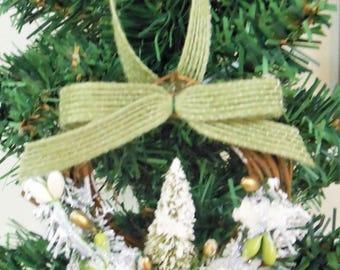 Christmas Ornaments Country Christmas Ornaments Handmade Ornaments White Green Christmas Ornaments Grapevine Ornaments Rustic Ornaments