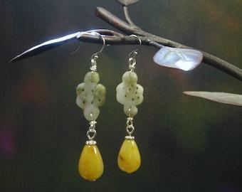 Natural Jade Dangle Earrings/ Teardrop Jade Earrings/ Two Color Tone Jades/ Sterling Silver Jade Jewelry