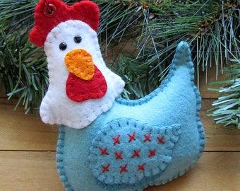 Wool Felt Embroidered Hen Chicken Ornament in Aqua