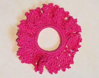 Crochet Hair Scrunchie. Ponytail Band. Hair Tie