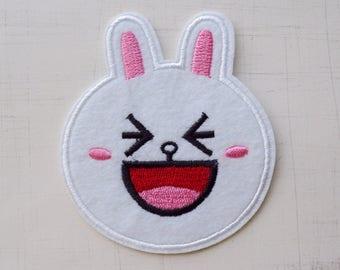 6.8 x 8cm, Happy White Bunny Iron On Patch (P-505)