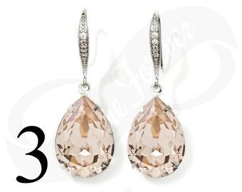 Set of 3 Bridesmaid Champagne Earrings Light Silk Earrings Set of 3 Bridesmaid Gifts Teardrop Earrings Satin Bridal Jewelry Wedding Jewelry