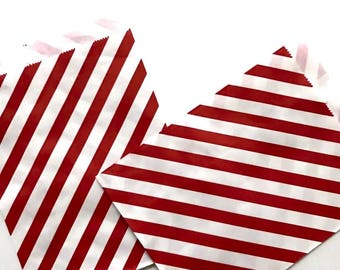 25 ct. 5x7 Treat Favor Paper Bags Red and White Stripes Candy Gift Bag