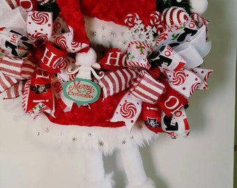 Mrs.Claus Wreath, Christmas Wreath, Door Decor, Christmas Decor, Christmas Mrs. Claus Wreath, Christmas Pine Wreath, Whimsical Wreath