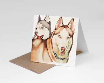 A7 Dog Greeting Card, Huskies, Siberian Husky Print, Pen and Ink Drawing