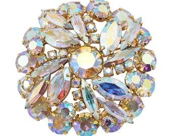 Vintage Aurora Borealis Crystal Brooch