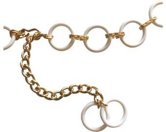 White plastic rings 1960s vintage mod go-go chain link belt
