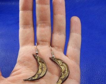 Leather embossed earrings Moon light, leather earrings, leather earrings Сrescent