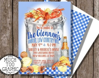 LOW Country Crawfish Boil Invitation Watercolor Style w Shower Birthday Coordinating Back CUSTOM
