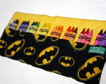 Batman Crayon Roll, Crayon Organizer, Stocking Stuffer