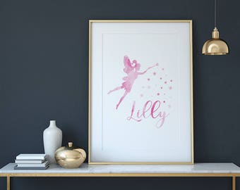 Personalised, Watercolour, Fairy, Name, Nursery, Princess Decor, Digital, Art Print, Watercolour Castle, Childs Name, Printable, Nursery Art