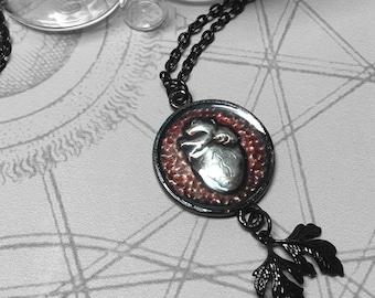 Plum Anatomical Heart : hand embossed repoussé metal pendant necklace