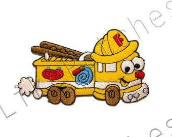 Fire Truck Patch - Happy Yellow Truck Cute Patch New Sew / Iron On Patch Embroidered Applique Size 10.6cm.x6.3cm.