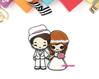 Happy Soulmate Couple Wedding Sew / Iron On Patch Embroidered Applique # Size 7.8cm.x8.8cm.
