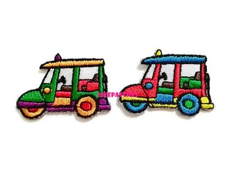 Set 2pcs. 3 Wheels Motorcycle Thailand Patch - Took Took Thailand - Car Green & Red Sew / Iron On Patch Embroidered Applique