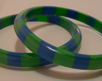 Blue and Green striped Lucite bangle bracelets