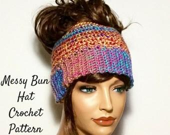 Easy Messy Bun Hat Crochet Pattern, Ponytail Beanie Crochet Pattern, Easy Bun Beanie Written Crochet Pattern and Photo Tutorial