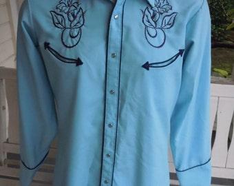 Size L (16, 34) ** Exceptional 1970s Stitched Cowboy Shirt