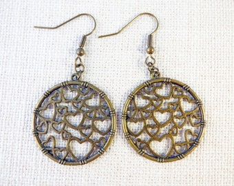 Big Bronze Heart Cercle Earrings
