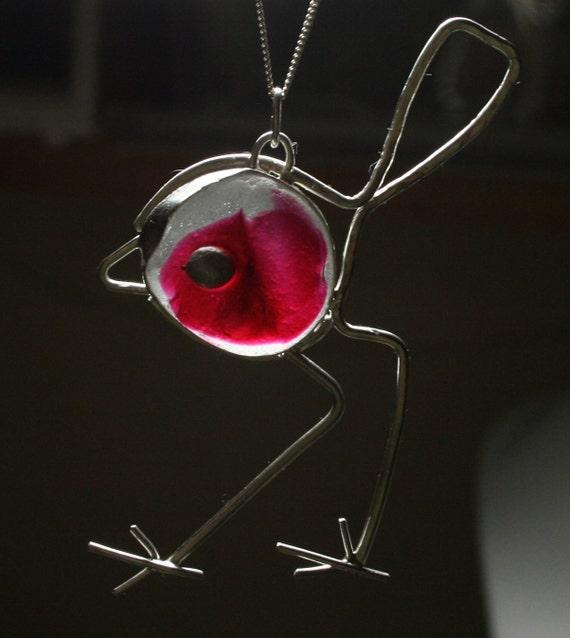 ROBIN RED-BREAST - Sea glass pendant