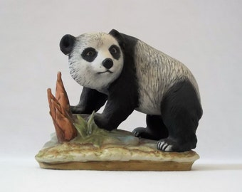 Vintage Panda-Bear-Figurine-By-Lefton-China, Collectible Bear, Home Decor