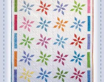 "Flowering Stars Quilt Pattern - Foundation Paper Pieced 58"" x 70"""
