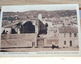 Vintage unused French postcard Villeneuve-les-Avignon real photograph postcard sepia black and white ruines de l'Eglise des Chartres