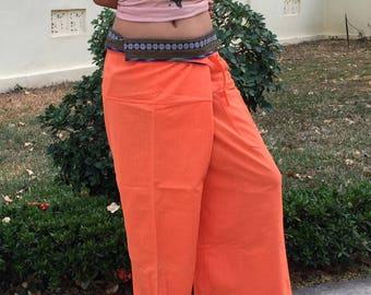 Thai Fisherman Pants Wide Leg Pants Wrap Yoga Pants Thai Fisherman Trousers Cotton Pants Women Thai Pants Burning Man Calca Tai * orange