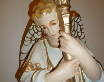 Religious art large Italian church angel plaster holding torch candle 1930s