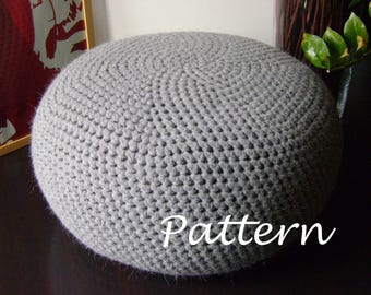 CROCHET PATTERN Diy Tutorial XL Large Crochet Pouf Poof, Ottoman, Footstool, Home Decor, Pillow, Bean Bag, Floor cushion (Crochet Pattern)