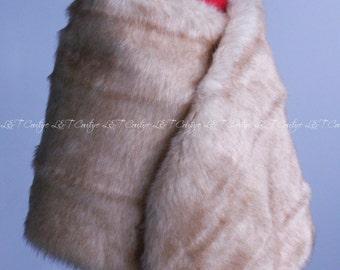 Champagne Faux Fur Stole, Fur Shawl, Bridal Shawl, Wedding Fur Wrap Shawl, Fur Wrap, Ivory Fur Bridal Wrap, Winter Wedding, Wedding Shawl