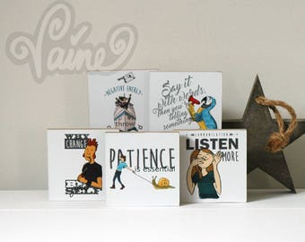 Art_print_Handlettering_5_different_images_Home_illustration_decoration_Wood_Art_Communication_Patience_Tiny creature Pint-sized product