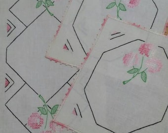 Vintage Circa 1940s Embroidered Table Scarf Set of 3 in Art Deco Style with Pink Roses