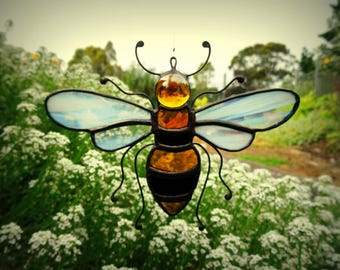 BEE stained glass suncatcher honey bee
