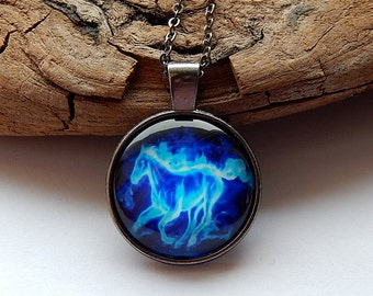 Blue fire horse Pendant necklace jewelry keychain, Glowing Fire horse, horse animal totem, animal horse keychain, blue horse charm christmas
